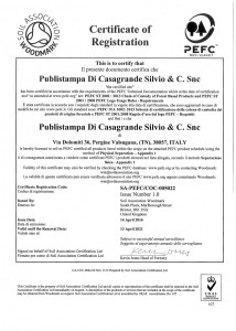 Certificato di registrazione Pefc fronte
