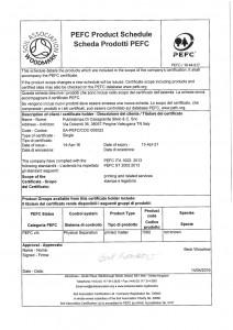 Certificato di registrazione Pefc retro