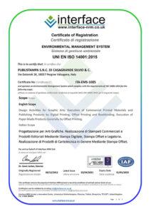 Certificazione Iso 14001 - 2021-2022