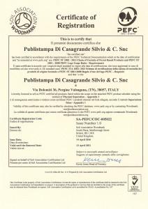 Certificato di registrazione Pefc 2016