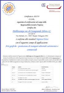 Certificazione Impresa Etica Publistampa