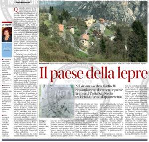 """""""Il paese della lepre"""", Corriere del Trentino - 21 maggio 2020"""