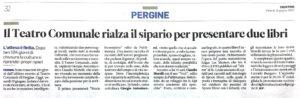 """""""Il Teatro Comunale rialza il sipario per presentare due libri"""", Trentino - 19 giugno 2020"""