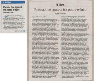 """""""Poesia, due sguardi tra padre e figlio"""", l'Adige - 30 luglio 2020"""
