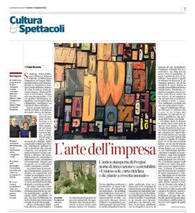 """""""L'arte dell'impresa"""", Corriere del Trentino - 21 agosto 2020"""