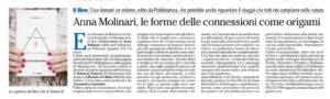 """""""Anna Molinari, le forme delle connessioni come origami"""", l'Adige - 6 dicembre 2020"""