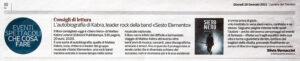 """""""Consigli di lettura. L'autobiografia di Kabra, leader rock della band «Sesto Elemento»"""", Corriere del Trentino - 28 gennaio 2021"""