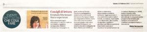 """""""Consigli di Lettura. Il metodo Montessori, voci ed esperienze"""", Corriere del Trentino - 13 febbraio 2021"""