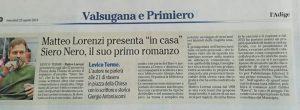 """Matteo Lorenzi presenta in casa """"Siero Nero"""", il suo primo romanzo, l'Adige – 25 agosto 2021"""