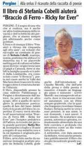 """Il libro di Stefania Cobelli aiuterà """"Braccio di Ferro - Ricky for Ever"""", l'Adige – 17 agosto 2021"""
